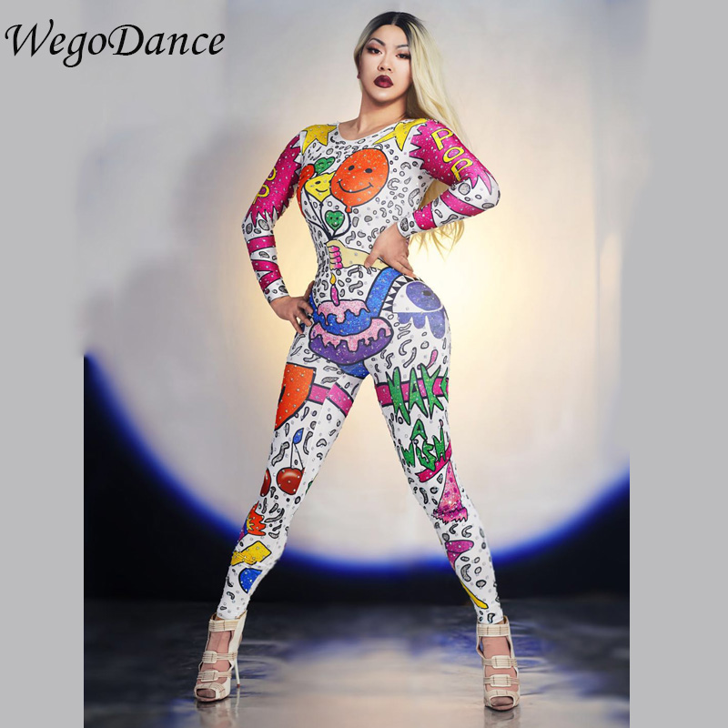 Women Clothing Cartoon Doodle Jumpsuit Outfit Singer Performance Party Wear  Dance Stage Costume