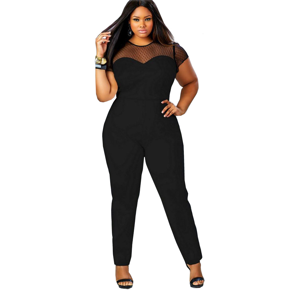Jumpsuits   For Women 2019 Long Pants Sexy Body Suits Women's clothing Mesh Splicing Bodysuit Big Size 4XL Bayan Tuta Bodies Damas