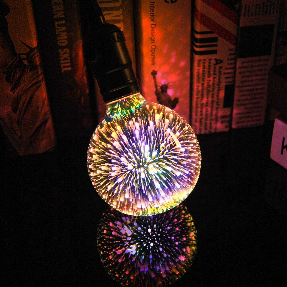 3D Led Étoiles Ampoule E27 Vintage Edison Coloré Bombillas Lumière de Nuit Rétro Verre Lampara Ampoule Home Decor Feu D'artifice RVB Christma