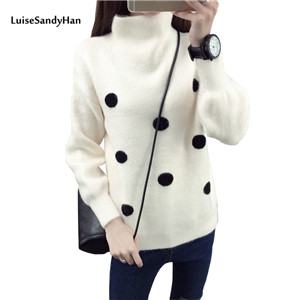 2017-Female-Autumn-Winter-pullover-loose-long-sleeve-women-O-Neck-sweater-thickening-short-design-polka