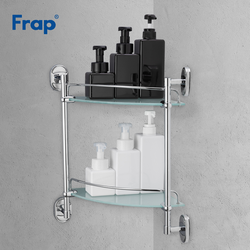 Frap Bathroom Dual Tier Shelves Shower Shampoo Soap Cosmetic Shelf Bathroom Accessories Storage Organizer Rack Holder F1907-2