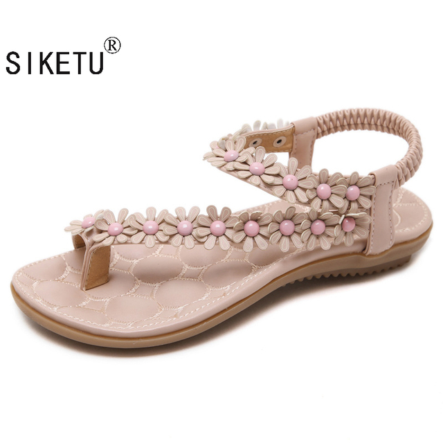 ae7d5d076686 SIKETU Women Bohemia Beaded Summer Flower Flat Heels Flip Flops Women S  Sandals T-Straps Sandals Women Flats Sandals 532-9