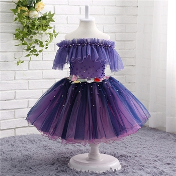 New 2017 Purple Ball Gown Sleeveless Tulle Girl Dresses For Weddings Pageant Dresses With Beadwork TZ001
