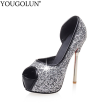 YOUGOLUN Women Pumps Bling Sexy Lady High Thin Heels Elegant Woman Pink Gray Sliver Peep toe Red Sole Bottom Party Shoes #A-088