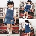Novo 2015 Hellokitty das crianças roupas de bebê bonito meninas denim vestidos desenhos animados menina macacão vestido de verão crianças jumpersuit 1 - 5 T