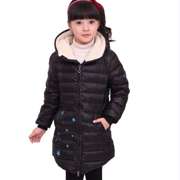 ФОТО Fashion Children Girls Winter Warm Parkas Star Print Medium Long Slim Zipper White Duck Down Jacket Coats Kids Thick Outerwear