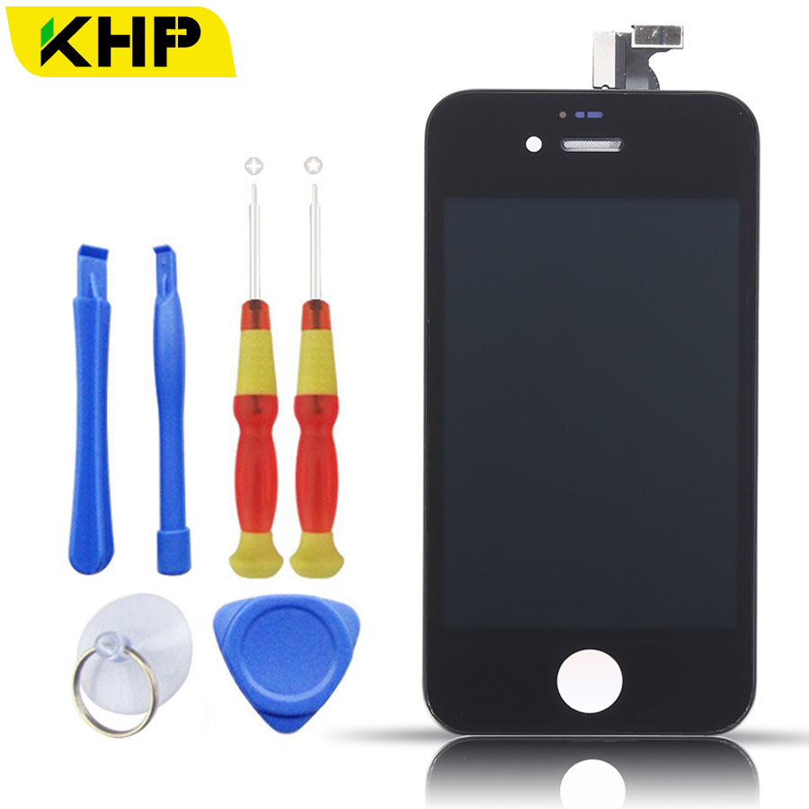100% KHP Original AAA LCD Screen For iPhone 4 4S Display Replacement Touch Screen Digitizer Assembly With Tool Kits replacement original touch screen lcd display assembly framefor huawei ascend p7 freeshipping