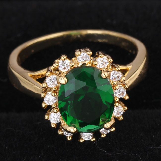 Super flash Green Crystal Ring Engagement Ring Full Size Jewelry Wholesale XY-R365