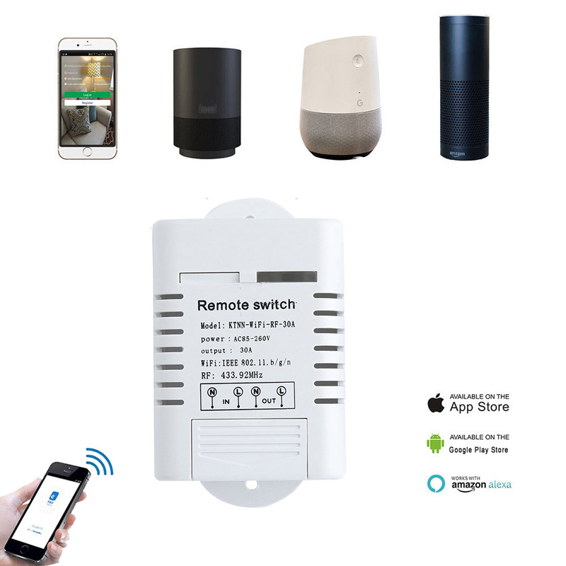 30A High Power Wifi Relay Switch Receiver 110V-220V Smart Home Gadgets Wireless Light Switch APP Control 433MHz wifi remote high power relay module 220v 30a 6000w for remote control switch smart phone app controlled for access guard switch