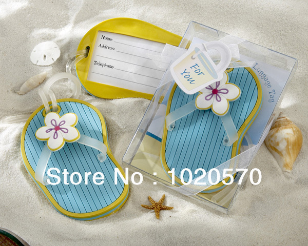 Free Shipping 100pcs Lot Wedding Favors Of Flip Flop Luggage Tag In Beach