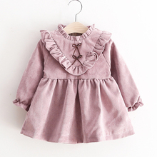 Fashion Dresses Princess Dress New Autumn Style Lotus Leaf Decoration Love Pattern Long-sleeve Dress Baby Kids Clothing
