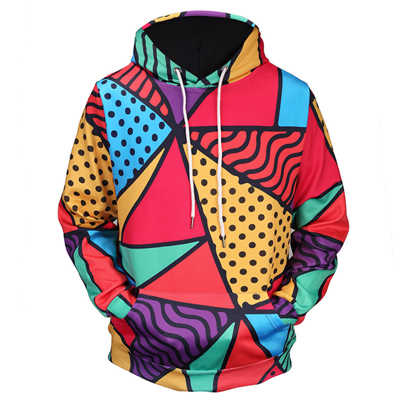Headbook New Fashion Women/Men 3d Hoodies Hoody Print Triangle Colorful Blocks Thin 3d Sweatshirts Hooded Hoodies 17090206