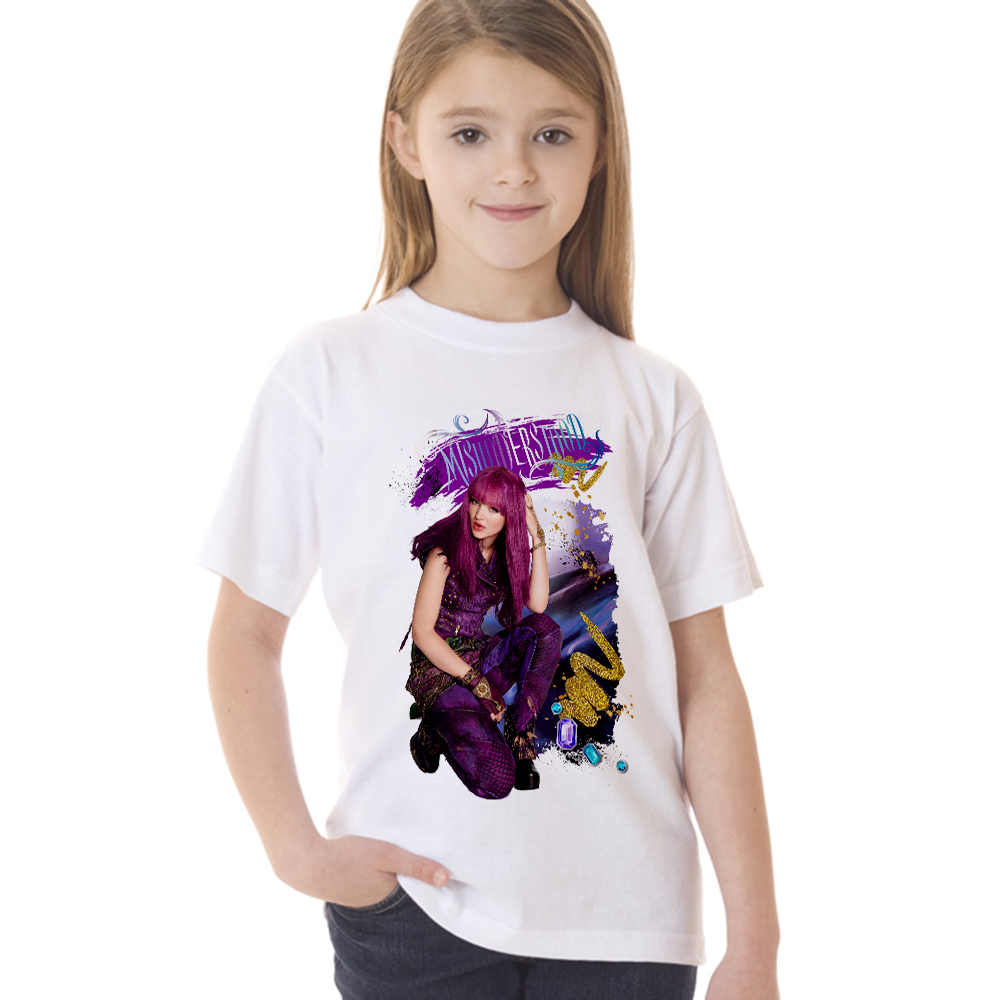 Big Girls Shirts Blouse Movie Descendants 2 Kids Fashion Summer for Children Tee 2-10