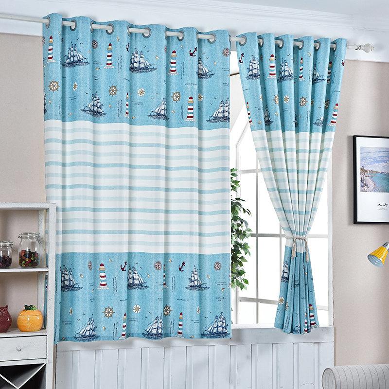 Buy New Blue Sea Short Curtains For Children Room Half Shade Curtains High