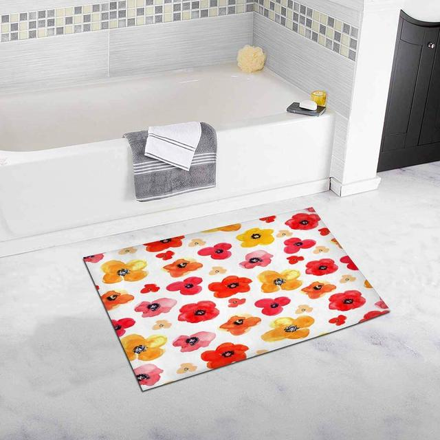 Fl Red And Yellow Isolated Poppies Kitchen Mat Bathroom Rugs Non Slip Home Entrance Floor