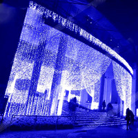8x4 متر أكاليل شلال أدى أضواء الستار أضواء في سلسلة ماء عيد عرس حزب الرئيسية حديقة الديكور