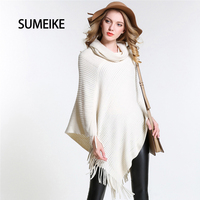 [SUMEIKE] New Knitted 2018 Fashion Design Style Scarf Turndown Collar/White Poncho For Women Warm Winter Shawl Capes