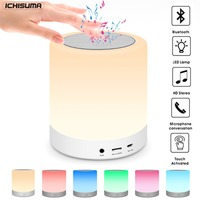 Wireless Bluetooth Speaker,Night Lamp With Bluetooth Speaker LED Light Touch Colorful Music Speaker