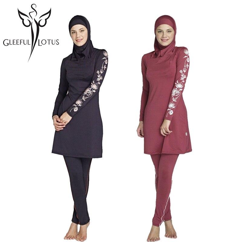 be3b3ddca12 female Islamic swimwear full coverage women bathing suits plus size tankini  muslim long sleeve swimsuits modest hooded hijab -in Islamic Clothing from  ...
