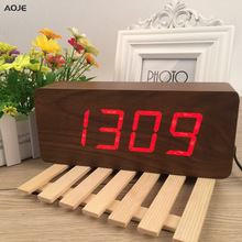 2017 Large wooden clock Unusual LED Digital Wooden Alarm Clock Despertador Sound Control Electronic clock desktop 21*9*5cm