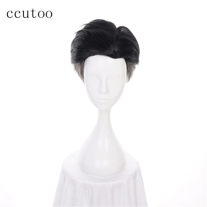 Ccutoo 30cm Men Short Black Grey Mix Synthetic Wig YURI!!! On ICE Otabek ALTIN Slicked-back Cosplay Wig