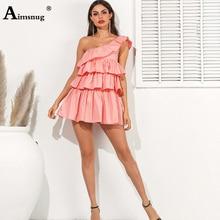 Sexy low-cut Chest shoulderless Backless Elastic Band Female Mini Dress High Waist Cascading Ruffle 2019 Summer New Women Dress