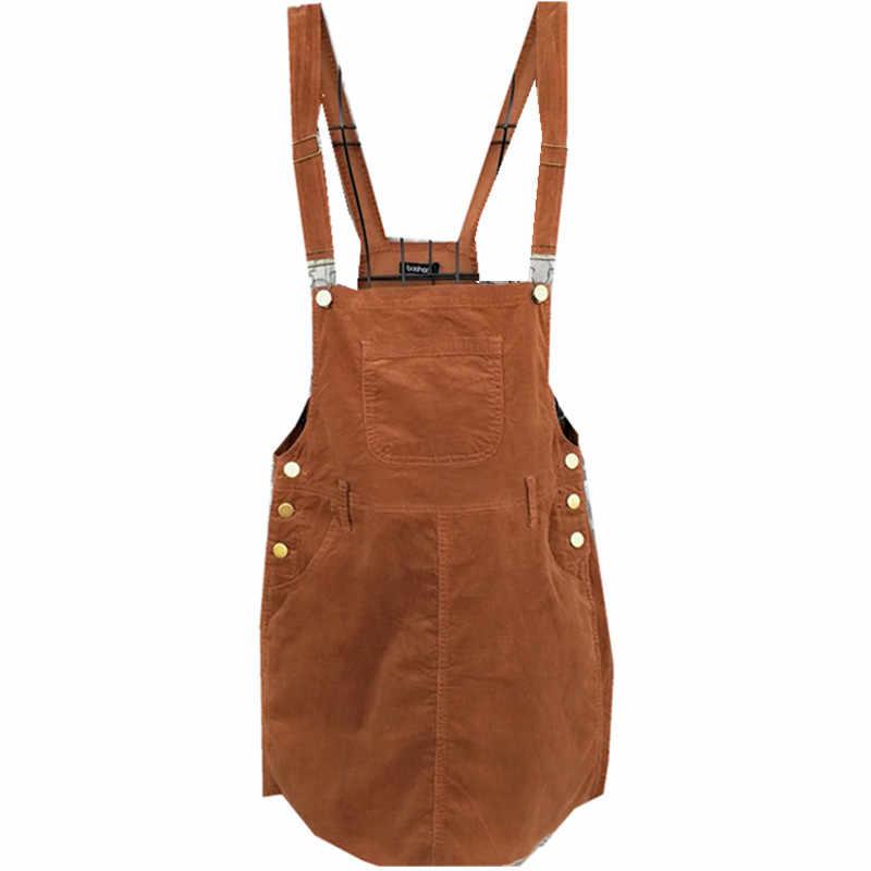 561ec39f3ab Braces Dress Young woman Fashion Autumn 2018 Women Elegant Pockets  Suspender Dresses Corduroy Sleeveless Overalls dress
