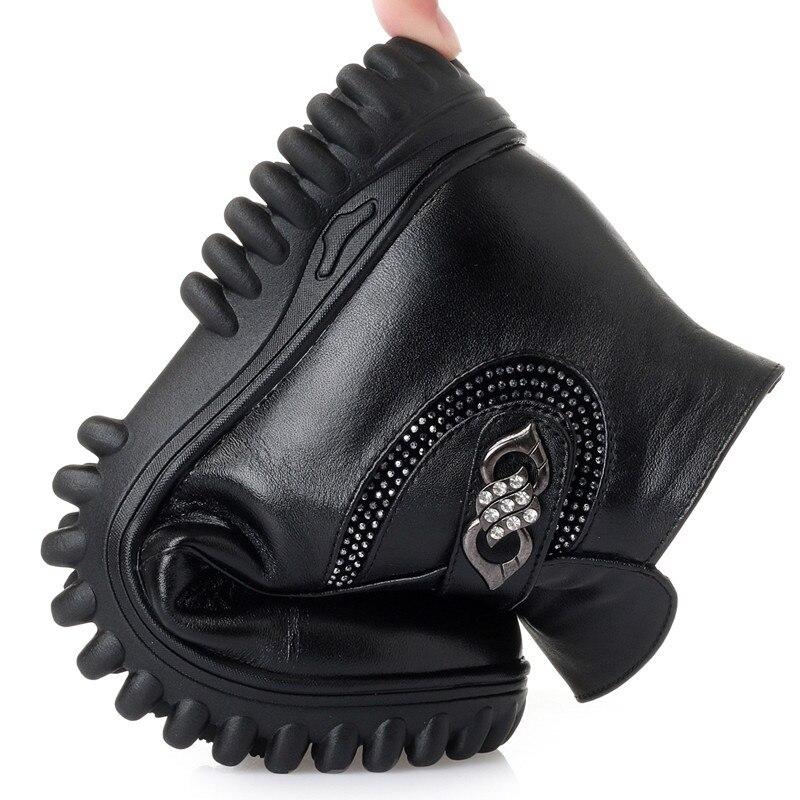 2019 Antideslizante Suave botas Plush Lana Black Genuino
