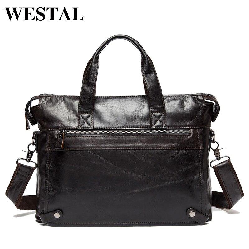 WESTAL Messenger Bag hommes en cuir véritable hommes sacs à bandoulière en naturel homme porte-documents ordinateur portable sac à bandoulière pour hommes 9103
