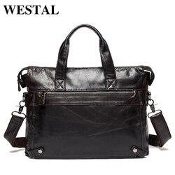 WESTAL Messenger Tasche männer echte leder herren schulter taschen aus natürlichen Männlichen aktentaschen laptop crossbody-tasche für männer 9103