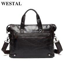 WESTAL Messenger Bag men's genuine leather men's