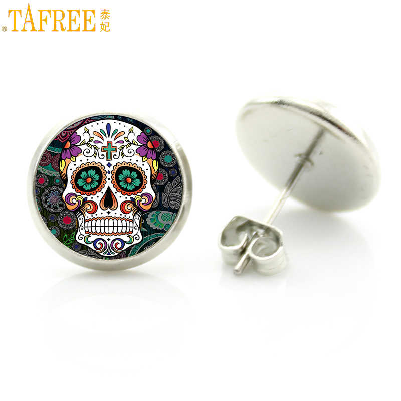 TAFREE Sugar Skull Stud Earrings for men and women Halloween glass cabochon tiny day of the dead Jewelry pendientes hombre D1014