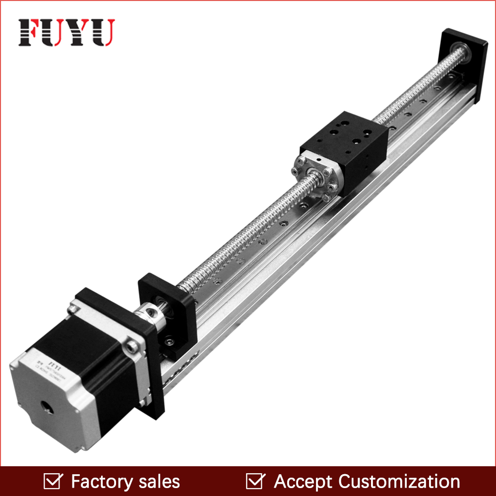 Free shipping 50mm~1000mm Travel Length Cnc Linear Guide Rail Stage Actuator Ball Screw Motorized Stepper Motor Robot Arm Kits belt driven guided linear actuator any travel length linear motion motorized linear stage heavy duty belt driven stage
