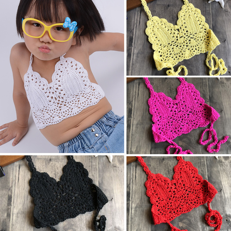2019 Fashion Children Crochet Bikini Top Sexy Hollow Out Halter V-neck Lace Tops Crochet Girls Baby Bikini Cotton Bra Free Ship