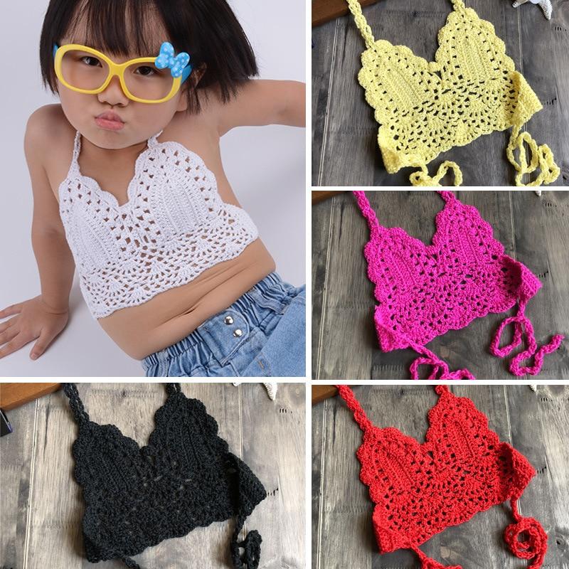 2019 Fashion Children Crochet Bikini Top Sexy Hollow Out Halter V-neck Lace Tops Crochet Girls Baby Bikini Cotton Bra Free Ship