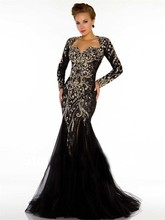 2015 Sexy Black Long Sleeves Tulle Mermaid Evening Dress Open Back Sweetheart Lace Beaded Crystal Backless Gown dsa78