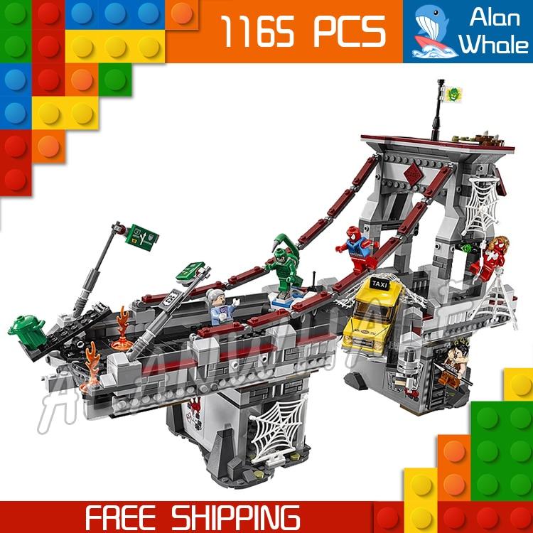 1165 pièces Super héros Spider-Man Web guerriers ultime pont 07038 bricolage Figure Kit de construction blocs jouet Compatible avec LegoING