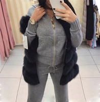 MVGIRLRU wool knitted suit winter warm suit for women zipper hooded cardigan with pant two pieces set female tracksuit