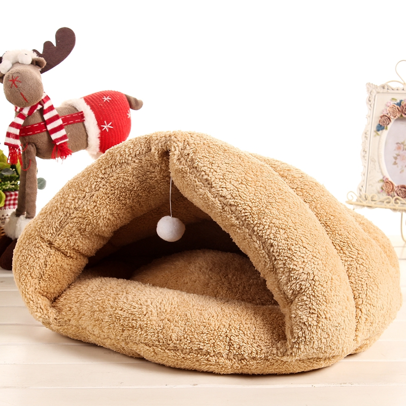 Winter Warm Soft Cat Bed Mats Cat Toy Balls Hanging Cat House Kitten Sleeping Bag Puppy Chihuahua Yorkshire Pet Small Dog Bed