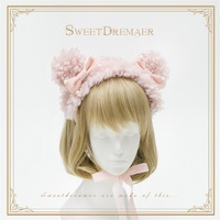 Sweet Women's Pink Furry Bear Ear with Pearl Bowknot Headdress Headband KC Lolita Maid Kawaii Headwear