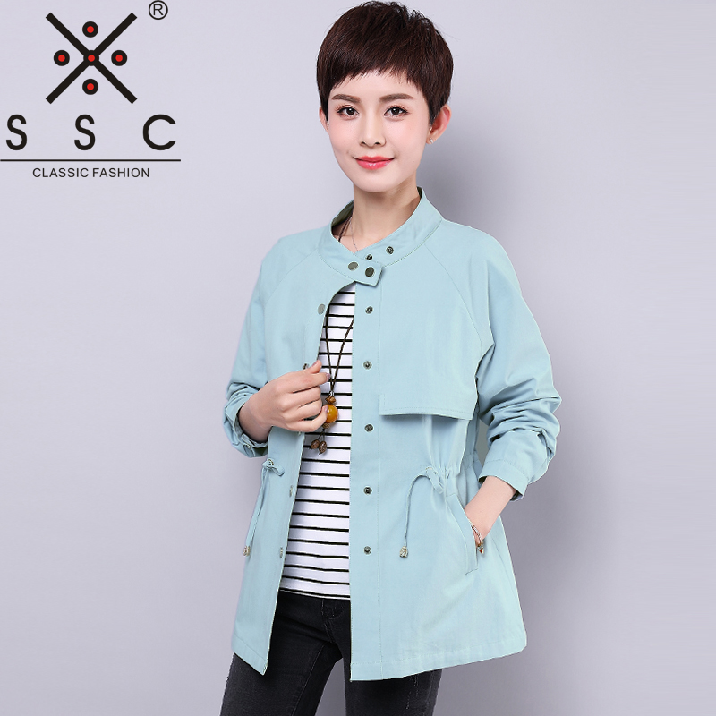 SSC 2018 New Spring Womens Windbreaker Plus Size 4XL Stand Collar Large Trench Coat Solid Color Woman Fashion Slim Coats M7132