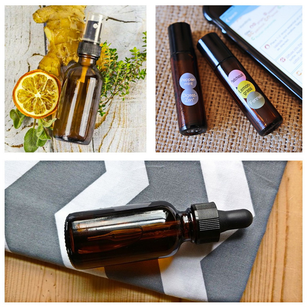 18pcs Empty Amber Glass Essential Oil Bottles with Stainless Steel Roll on Roller Balls Accessories for Essential oils Perfume in Refillable Bottles from Beauty Health