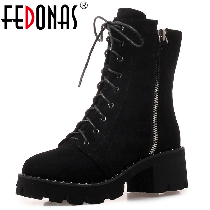 FEDONAS New Brand Women Black Genuine Leather Ankle Boots High Heels Autumn Winter Martin Shoes Woman Sexy Motorcycle Boots hot sale new 2017 new sexy genuine leather black boots rivet square heels autumn winter ankle boots sexy shoes woman size 34 43