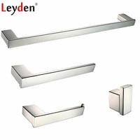 Leyden 4pcs Bathroom Accessories Set Chrome 304 Stainless Steel Towel Bar Holder Toilet Paper Holder Towel Ring Clothes Hook