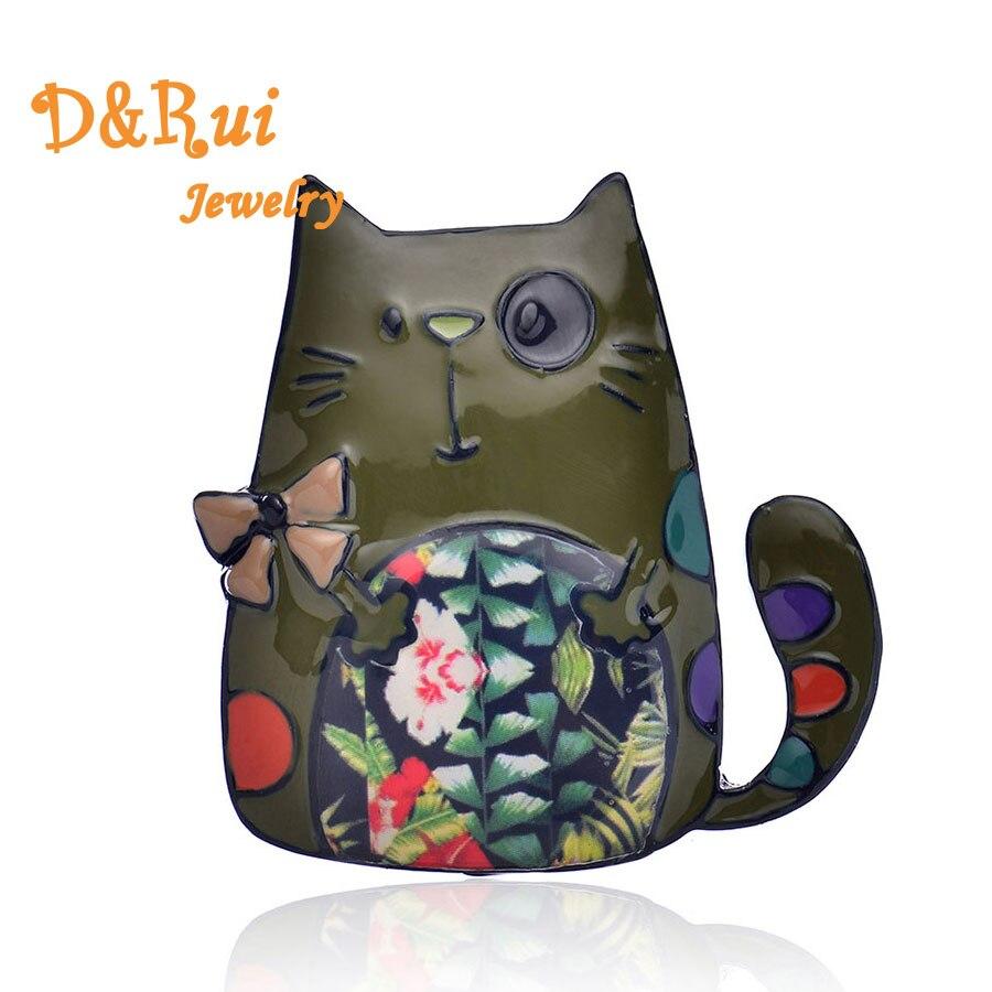 a2cb79f9a0 Lindo gato pines y broches de moda de esmalte Pin mochila Vintage de tela  accesorios damas niñas clásico de joyería de encanto de regalo 2019