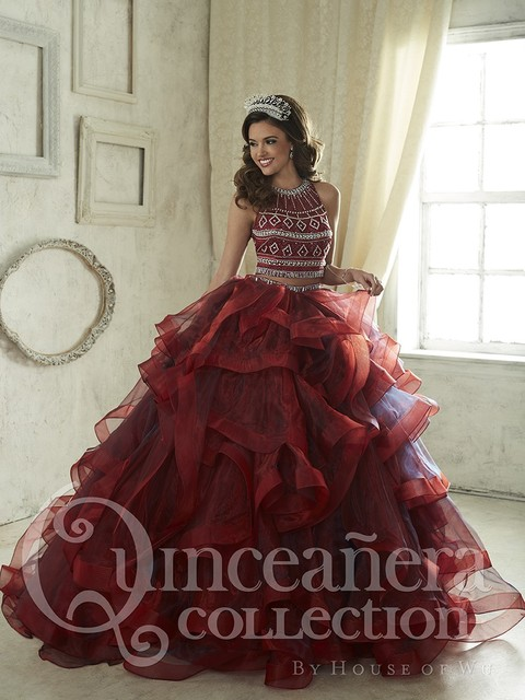 12cb8b532 Blue Burgundy Two Pieces Quinceanera Dress Beaded For 15 Year Ball Gown  Ruffles Cheap Sweet 16