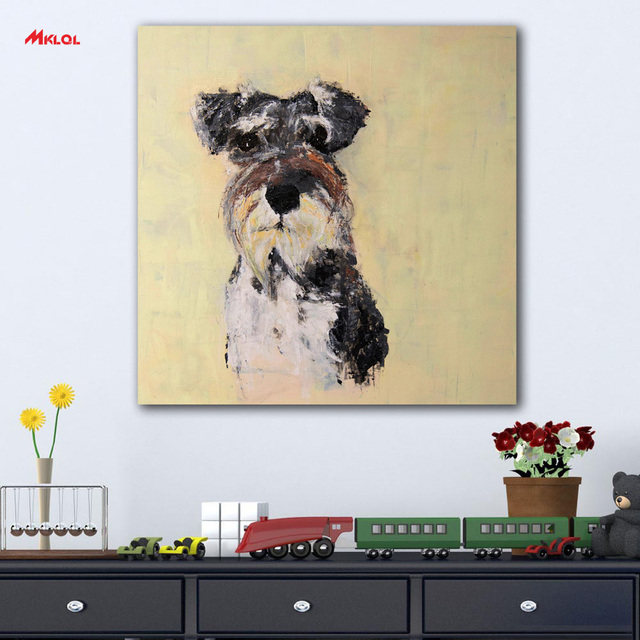 Frameless Schnauzer Oil Painting Wall Art Picture Paiting Canvas ...
