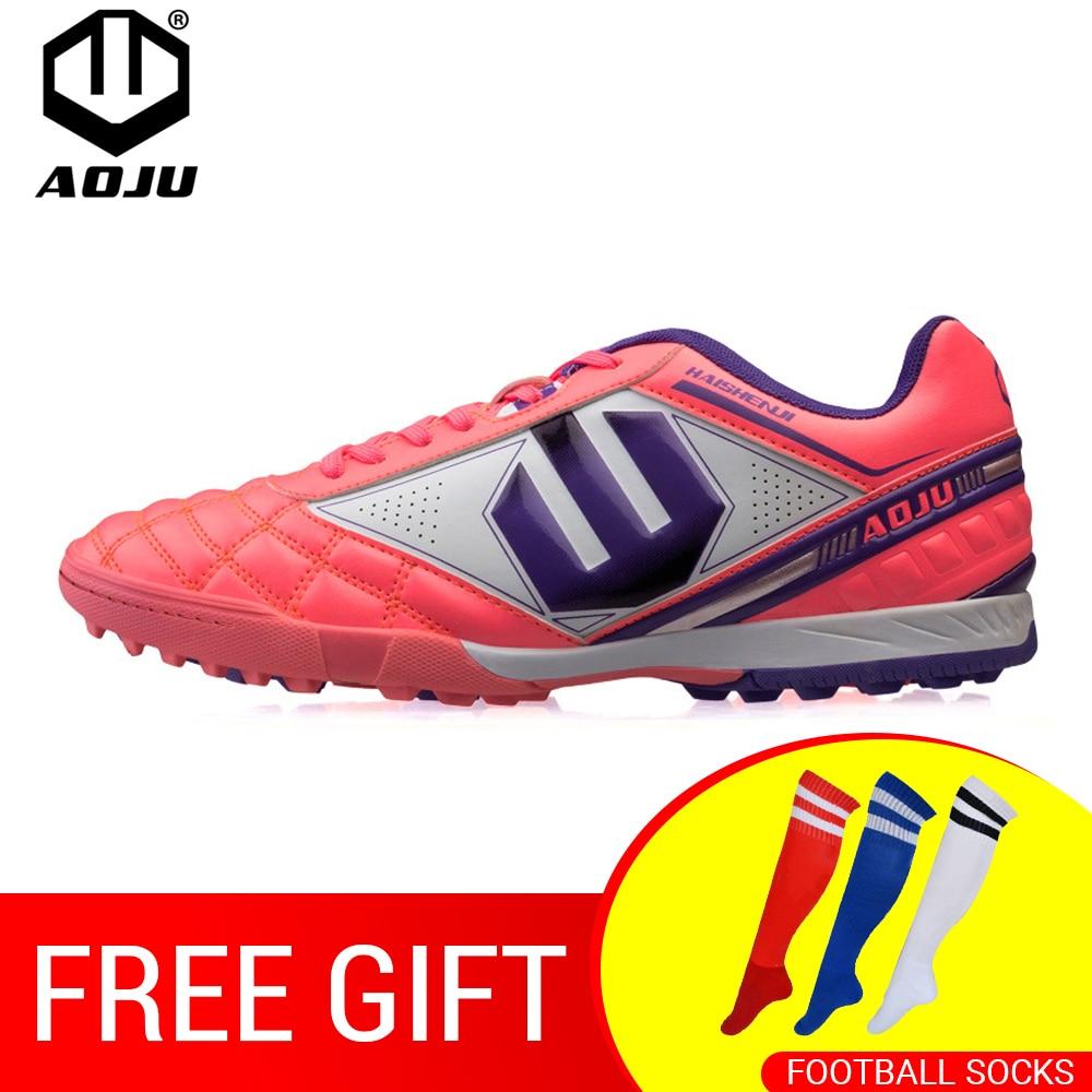 AOJU Chuteiras TF Turf Futebol Botas Chuteiras Quadra Dura Trainer Botas  Chuteira Futsal Sapatos De Futebol 6207e8735861b