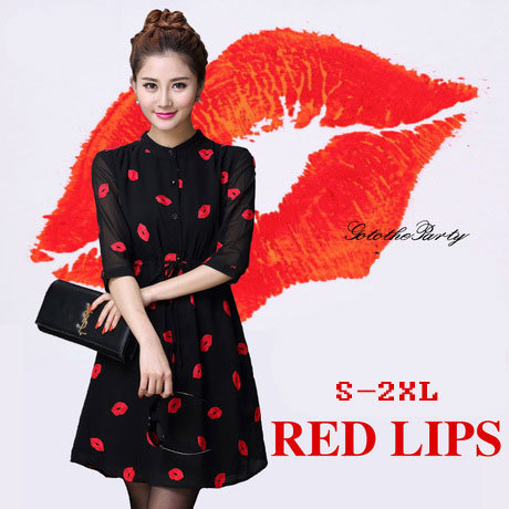 Vestidos Femininos 2016 Autumn Cute Red Lips Print Stand Collar lined Dresses Women Chiffon Dress with Sashes Plus Size S-4XL