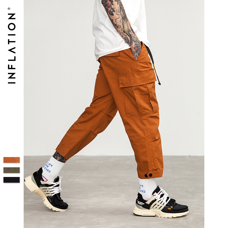 INFLATION Male Jogger Casual Plus Size Cotton Trousers Multi Pocket Military Style Army Green Orange Men's Cargo Pants 8403S